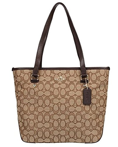 Coach Outline Signature Zip Top Tote Shoulder Bag by Coach
