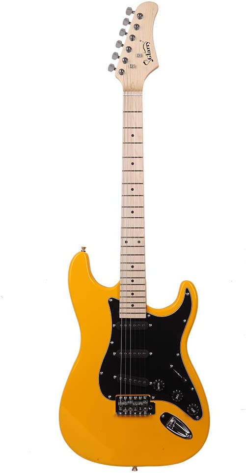 New Glarry GST Stylish Electric Guitar Kit with Black Pickguard Connecting Wire Tremolo Bar Strap Guitar Bag Orange Hot