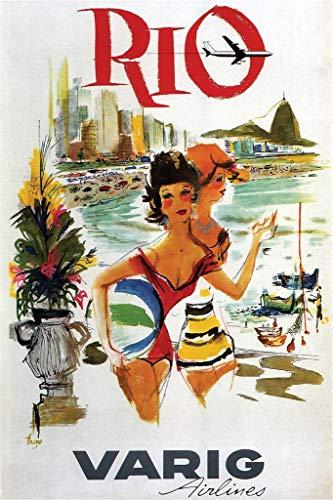 Varig Airlines - Rio de Janeiro Brazil Varig Airlines Vintage Travel Poster 24x36 inch