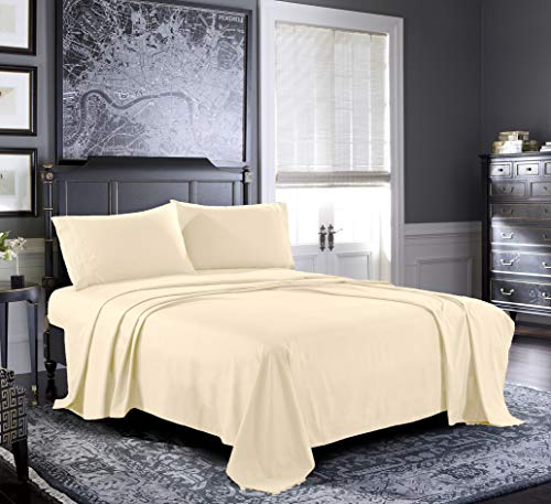 Fresh Linen King Sheets [4-Piece, Beige] Hotel Luxury Bed Sheets - Extra Soft 1800 Microfiber Sheet Set, Wrinkle, Fade, Stain Resistant - Deep Pocket Fitted Sheet, Flat Sheet, Pillow Cases