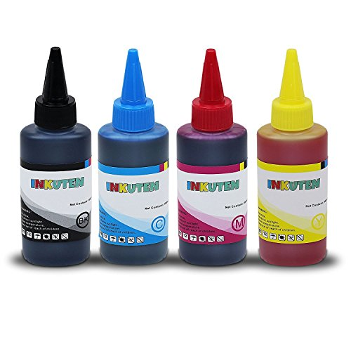 INKUTEN (TM) 4 Bottles Refill Ink (100ml Black, 100ml per color, total 400ml) For Brother LC203, LC205, LC207