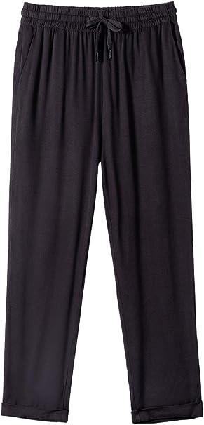 Gooket Women's Elastic Waist Casual Relaxed Fit Capris Drawstring Pants