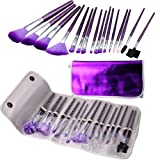 New 16Pcs Professional Cosmetic Makeup Brush Set with Leather Bag-Purple by Obic-Shop