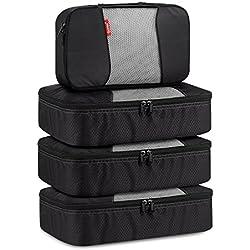 Travel Packing Cubes, Gonex Luggage Organizers 3 Medium+1 Small Black