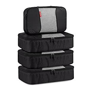 Travel Packing Cubes, Gonex Luggage Organizers 3 Medium+1 Small Black