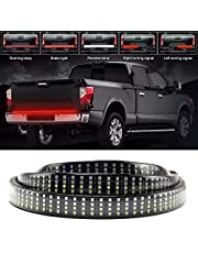LED Tailgate Light Bar Strip Quad Row 624Pcs LED Turn Signal, Brake Reverse Tail lights Flexible No Drill Install for Pickup Trailer SUV ATV RV VAN Car Towing Vehicle White/Red