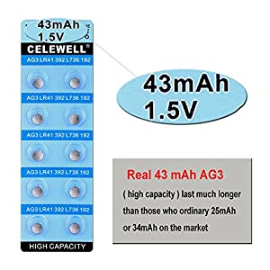 【5 Year Warranty】CELEWELL 20pcs AG3-L736F-LR41-Thermometer-Battery 43mAh