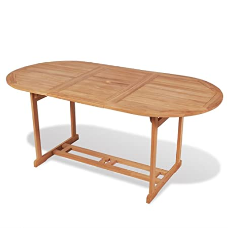 Festnight Teak Outdoor Garden Dining Table 180x90x75 Cm