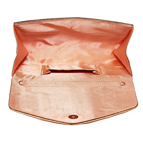 Style Ladies Purse Any Clutch Or Occasion Designer Special Evening 1 Champagne Womens Design Envelope Handbags party For Bag Metallic Xqpzp