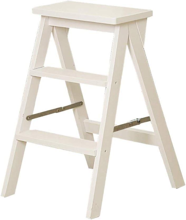 LY-Escalera Cocina plegable de heces sólidas escaleras de madera de pie Taburetes Inicio escaleras portátiles Soporte MultifunctionStep heces flor (Color : Blanco): Amazon.es: Bricolaje y herramientas