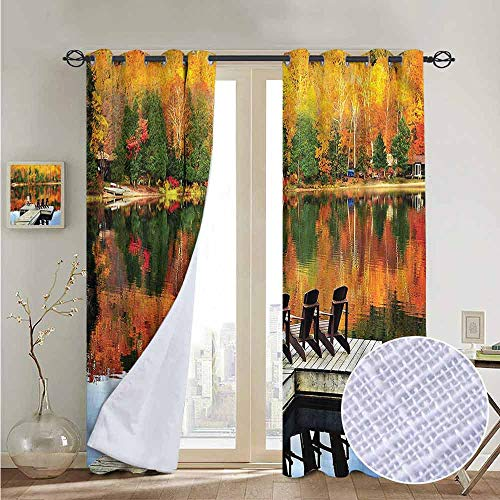 NUOMANAN Blackout Curtains Landscape,Chairs on Wooden Dock,for Bedroom,Nursery,Living Room 120