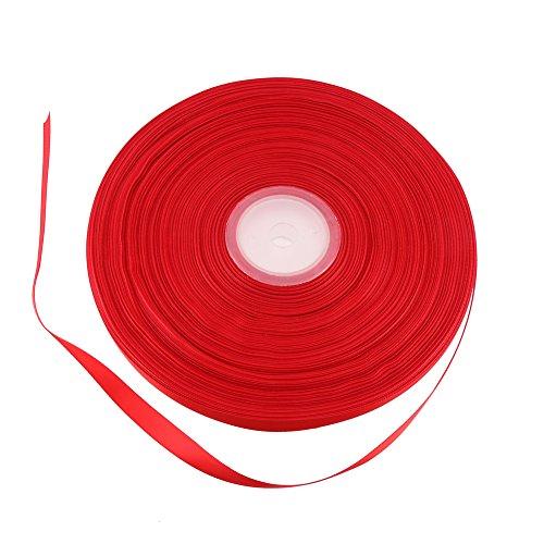 (DECORA 100 Yard 3/8'' Long Grosgrain Fabric Ribbon Red Silk Satin Ribbon Set for Wedding Decoration Gift Wrapping and Craft Making)