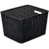 Resin Wicker Storage Tote, Large 13.75'' x 11.50'' x 8.75'', Basket Weave (black) (Set of 6)