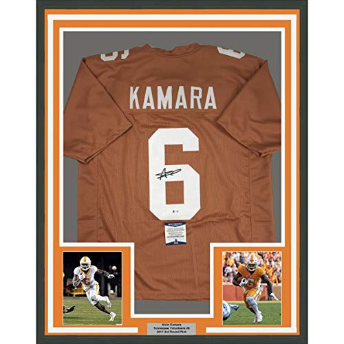 Framed Autographed/Signed Alvin Kamara 33x42 Tennessee Orange College Football Jersey Beckett BAS COA
