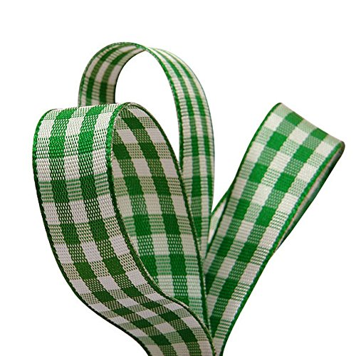 Green and White Gingham Grosgrain Ribbon - 5/8in. Width - 25 Yards