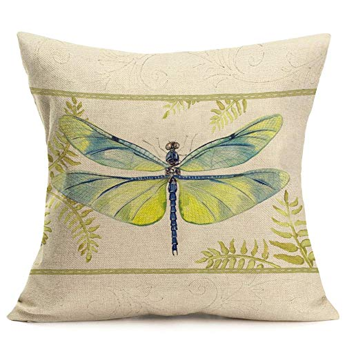 - Smilyard Cotton Linen Decorative Pillow Covers Vintage Paris Country Green Dragonfly Throw Pillowcase Square Cushion Covers for Home Sofa Home 18x18 Inch (Green Dragonfly 16)