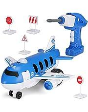 Hautton Take Apart Toy DIY-afstandsbediening Vliegtuig met Elektrische Boor, Kinderen Bouwen Leren Speelgoed Cadeau voor Jongens Meisjes van 3-7 Jaar Oud