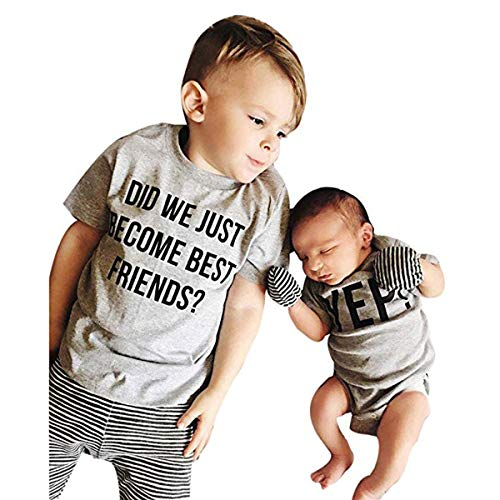 Cenhope Twins Baby Brothers Clothes Short Sleeve T-Shirt Letter Print Romper (Grey(Big Brother), 3-6M)