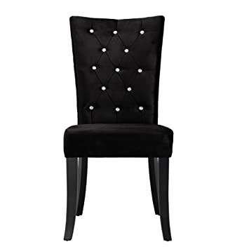 Comfy Homes Radiance Velvet Dining Chairs Set Of 2 Black Velvet