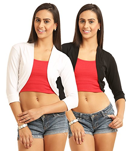 SKiDlers Women's Cotton Front Open Formal Shrugs (Pack of 2) Women's Crop Shrugs (Pack of 2)