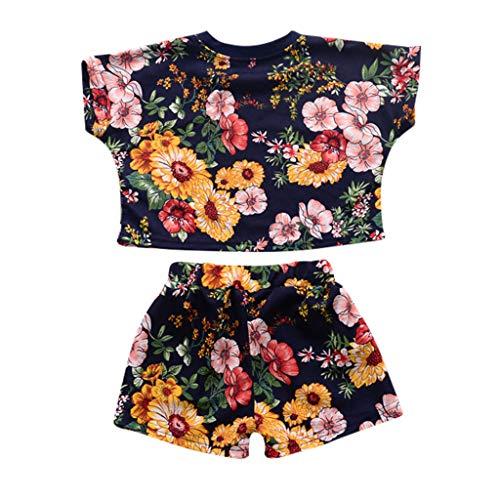 (TIFENNY 3PCS Baby Girls Summer Outfit Clothes T-Shirt Tops+Shorts Pants Set Black)