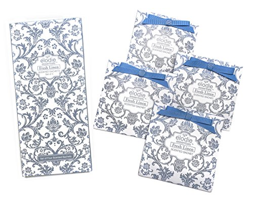 Fresh Linen Scented Sachets - Set of 4 Large Gift Boxed Sachets for Drawers and Closets - Royal Damask ()
