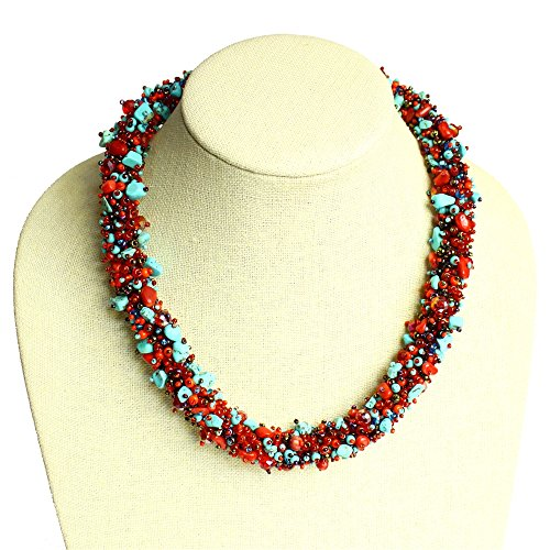 Turquoise and Red Glass and Crystal Beads Artisan Crafted Necklace Enduring Detail Fine Quality (Maya Turquoise Necklace)