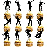 24 PCS Game Theme Cupcake Toppers Party Favor Dance Floss Happy Birthday Cake Decoration Game Party Supplies