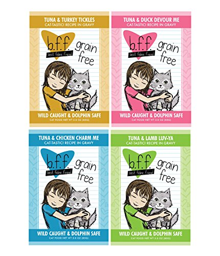 51CzKiQvhHL - BFF 3 Oz Cat Food Variety 12 Pouches with 4 Flavors – Tickles, Devour Me, Charm Me, and Luv-Ya