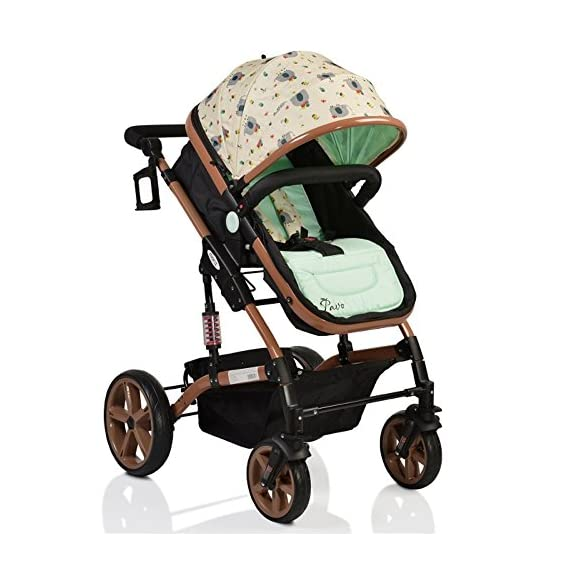 Pavo Italia Luxury 600D Linen Stroller Cum Carry Cot with One-Touch Braking System (Green, 6-36 Months)