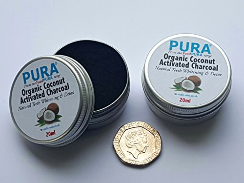 PURA® Fine COCONUT Activated Charcoal Powder 20ML TWIN PACK - Organic Teeth Whitening