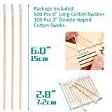 500 Pcs Long Wooden Cotton Swabs, Cleaning