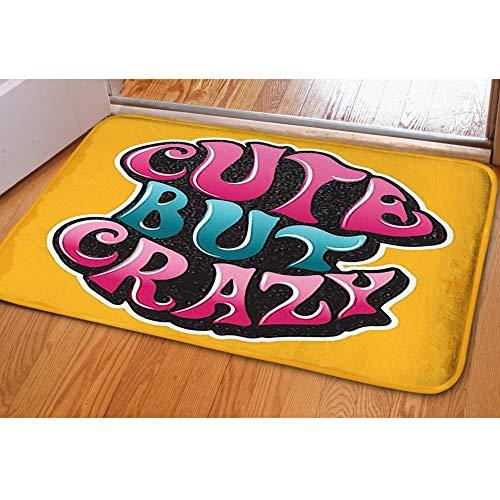iBathRugs Door Mat Indoor Area Rugs Living Room Carpets Home Decor Rug Bedroom Floor Mats,slogancute Crazy Groovy Psychedelic 60s]()