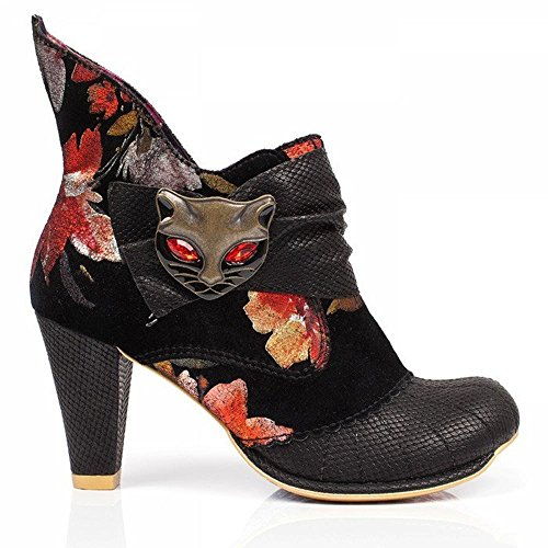 Irregular Choice Miaow - Botines Mujer Black (Black/Red Floral)