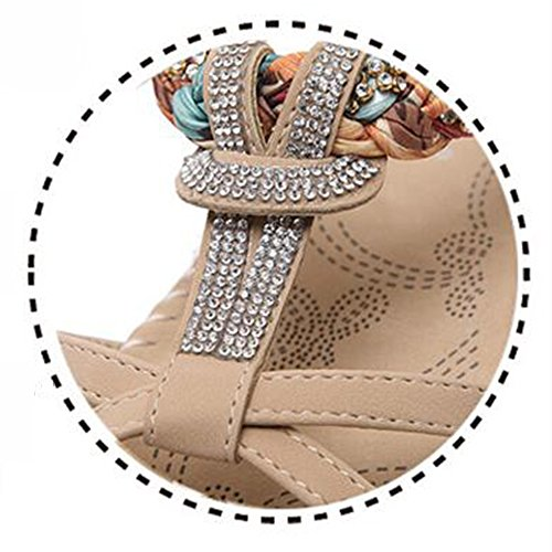 Sandals xiaolin Beach Shoes Female Vacation Bohemian Ethnic Rhinestones Flat Summer Korean Version Of Open-Toe Women's Shoes Tide(Optional Size) 01 Yjg36V