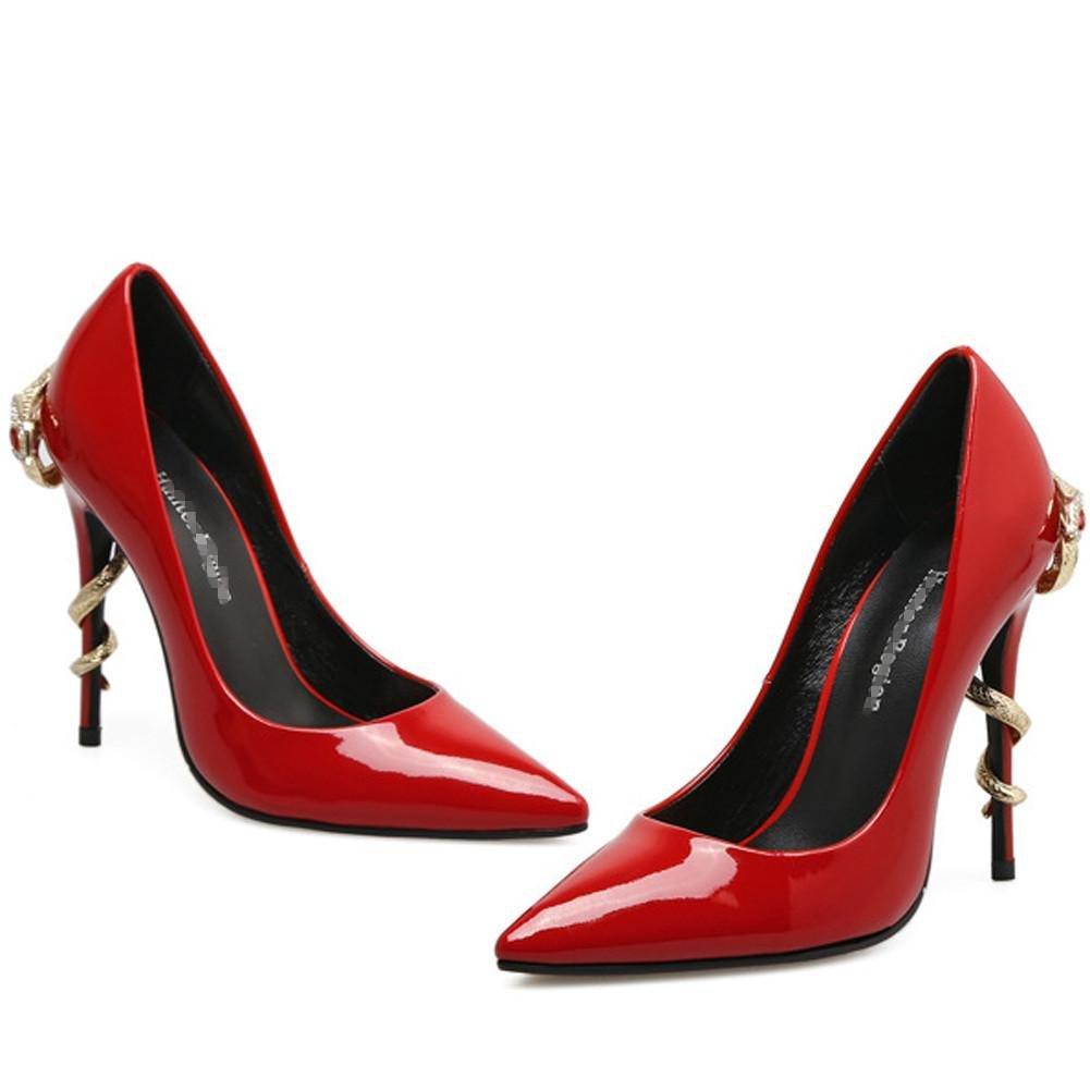 Scarpe Da Ballo Donna Da Banchetto Da Donna Da Scarpe Da Donna Nera In Metallo Rosso Nero Con Punta In Metallo . Red . 38 red c0c3fa