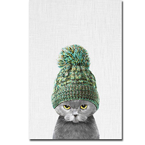 Kitten Wearing a Hat by Tai Prints Premium Gallery-Wrapped Canvas Giclee Art (Medium, Ready-to-Hang)