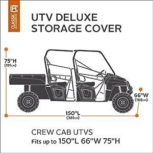 Classic Accessories 18-066-063801-00 QuadGear Black/Grey QuadGear UTV Deluxe Storage Cover (For Crew Cab UTVs Up To 150…