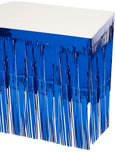 Green Fringe Metallic - Pkgd 1-Ply FR Metallic Table Skirting (blue) Party Accessory  (1 count) (1/Pkg)