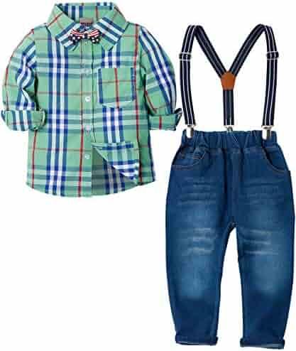 f49e95191 ZOEREA Toddlers Baby Boys Kids Formal Outfit Suit Set, Plaids Shirt +  Suspender Pants +
