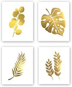 Abstract Tropical Leaves Gold Foil Print, Modern Nordic Botanical Painting Cardstock Wall Art Print Simple Life Poster Living Room Decor (8 X 10 inch, Set of 4, UNframed)
