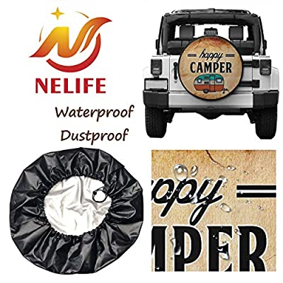 NELife Tire Cover Happy Camper Camping Polyester Wheel Tire Cover Potable Universal Wheel Covers Powerful Waterproof Tire Cover Fit for Jeep Trailer RV SUV Truck Trailer Accessories (14-17 in): Clothing