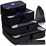 Evatex Packing Cubes | Travel Packing Cubes, 6pc Set with Shoe Bag |Laundry Bag (Black)