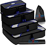 Evatex Packing Cubes | Travel Packing Cubes, 6 piece Set with Shoe Bag and Laundry Bag (Black)