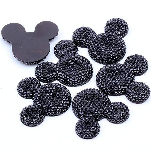 (NEW Colors 100pcs/lot 30x35mm Shiny BIG Mickey Head Flatback Resin Rhinestone Cabochon Beads Stone Art DIY Dotted Deco/Wedding (02 black))