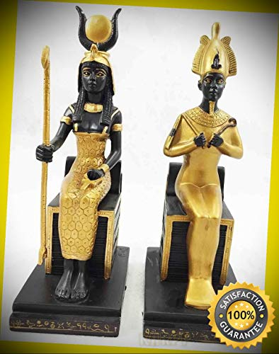 KARPP Egyptian King Queen Goddess Isis & God Osiris Sitting On Throne Figurine Set Perfect Indoor Collectible Figurines ()