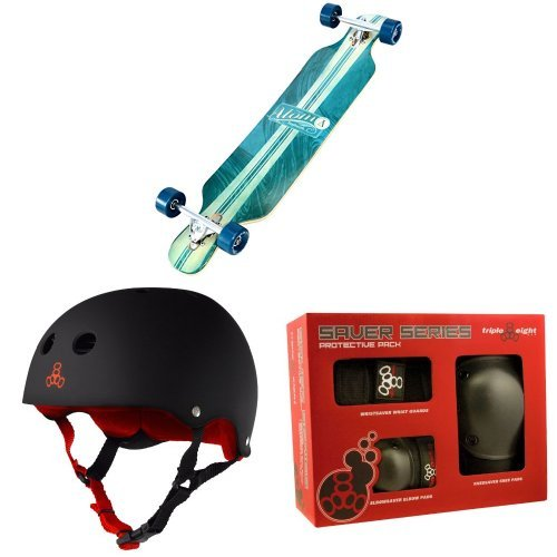 Atom Drop Through Longboard (39 Inch) with Triple 8 Helmet and Pad Set