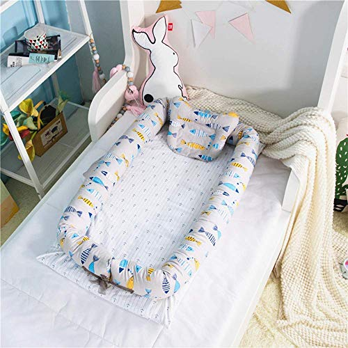 Abreeze Baby Bassinet for Bed -Fish Printed Baby Lounger – Breathable & Hypoallergenic Co-Sleeping Baby Bed – 100% Cotton Portable Crib for Bedroom/Travel