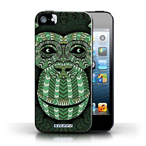 Etui / Coque pour Apple iPhone 5/5S / Singe-Vert conception / Collection de Motif Animaux Aztec