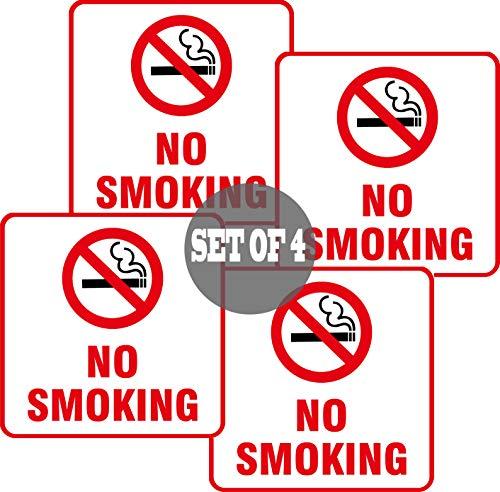 (4 Pack) Self Adhesive No Smoking Sign Vinyl Decal Sticker Waterproof Indoor & Outdoor use